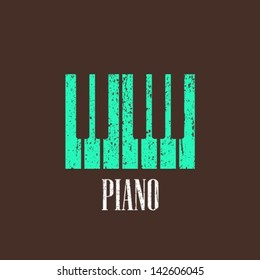 vintage illustration with piano