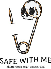 vintage illustration safety pin with the head of the skull stuck in