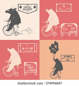 Vintage Illustration Set of bears on a bike with Grunge effect. Funny bear ride a bicycle on a white background for posters, advertising and T-shirts.