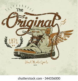 vintage illustration shoes with wings