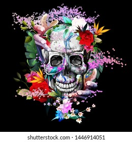 Vintage illustration of skull with flowers and hands on black. Hand drawn, vector - stock.