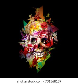 Vintage illustration of skull with flowers on black. Hand drawn, vector - stock.