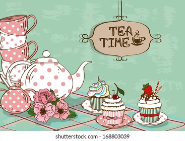 Vintage illustration with still life of tea set and fancy cupcakes