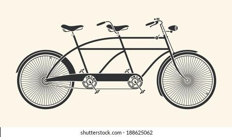 Vintage Illustration of tandem bicycle over white background