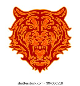 vintage illustration of tiger roar. suitable for logo, mascot and any prints media