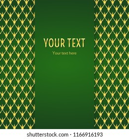 Vintage illustration with vertical frame and gold ornament on green background