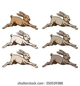 Vintage illustration of wild rabbit jump