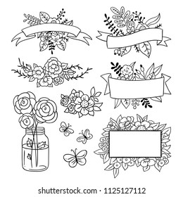 Vintage illustrations outline hand drawn set. Florals, frames, ribbons, banners and labels