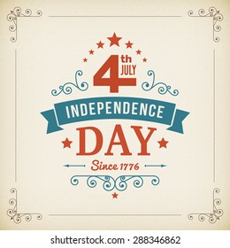 Vintage independence day 4th July american poster on paper background. Vector illustration.