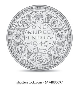 Vintage Indian one rupee coin 1945 in vector illustration