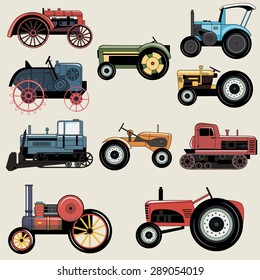 Vintage Industrial transportation tractor vector set for construction, maintenance and  agriculture needs.