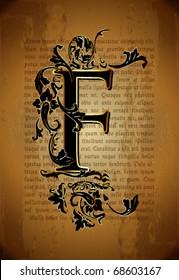 Vintage initial letter f