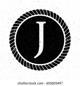 vintage initial letter j logo with rope circle