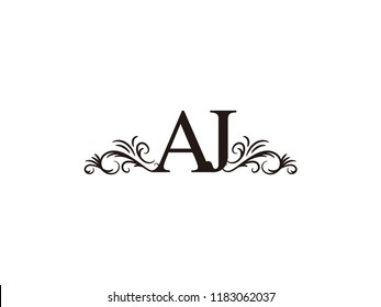 vintage initial letter logo aj couple wedding name