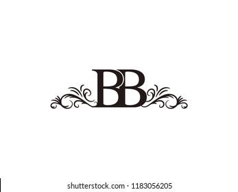 Vintage initial letter logo BB couple wedding name