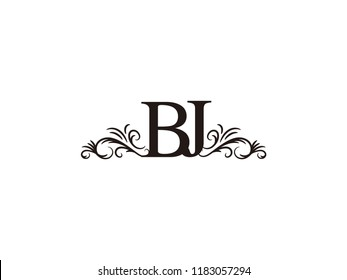 Vintage initial letter logo BJ couple wedding name