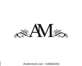 Vintage initial letter logo AM couple wedding name