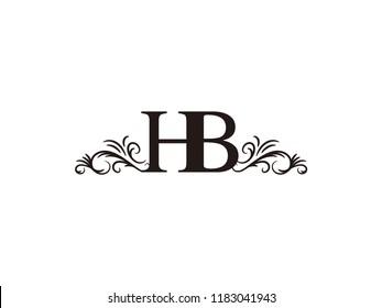 Vintage initial letter logo HB couple wedding name
