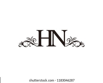 vintage initial letter logo hn couple wedding name