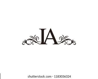 Vintage initial letter logo IA couple wedding name