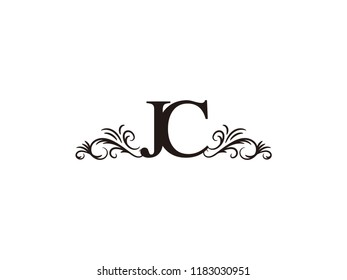vintage initial letter logo jc couple wedding name