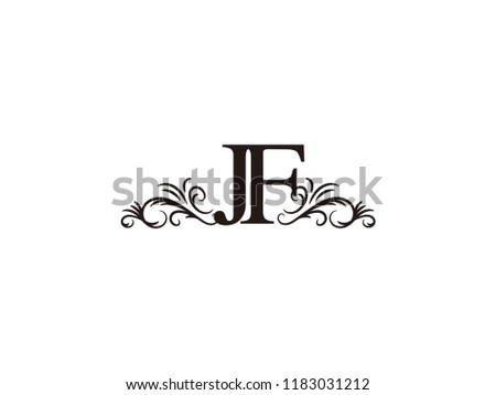 vintage initial letter logo jf couple wedding name