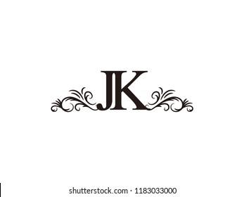 Vintage initial letter logo JK couple wedding name