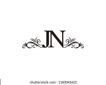 Vintage initial letter logo JN couple wedding name