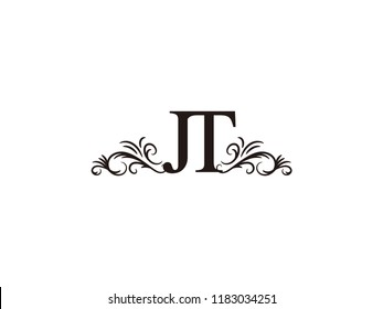 Vintage initial letter logo JT couple wedding name
