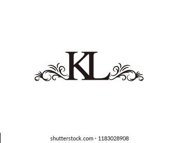 Vintage initial letter logo KL couple wedding name