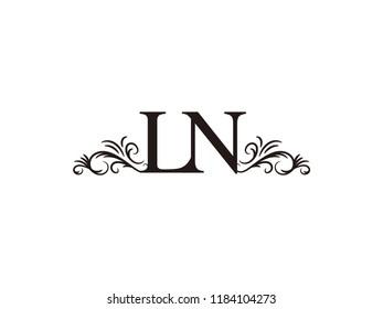 Vintage initial letter logo LN couple wedding name