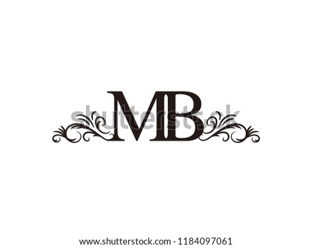 vintage initial letter logo mb couple wedding name