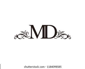 Vintage initial letter logo MD couple wedding name