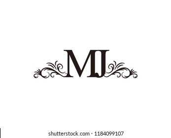 Vintage initial letter logo MJ couple wedding name