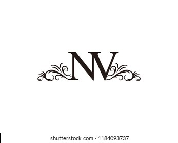 Vintage initial letter logo NV couple wedding name