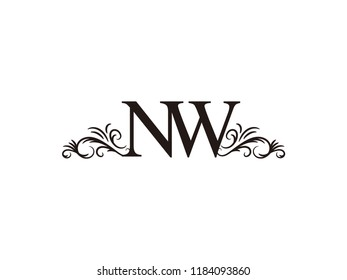 Vintage initial letter logo NW couple wedding name