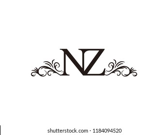 Vintage initial letter logo NZ couple wedding name