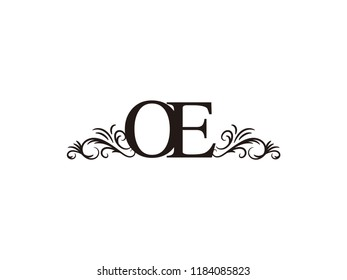 Vintage initial letter logo OE couple wedding name