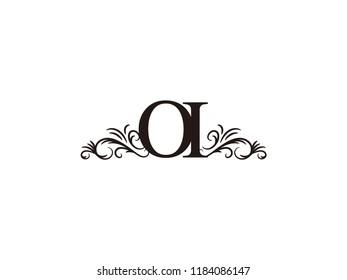 Vintage initial letter logo OI couple wedding name