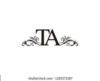 Vintage initial letter logo TA couple wedding name