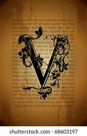 Vintage initial letter v