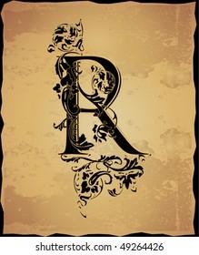 Vintage initials letter r