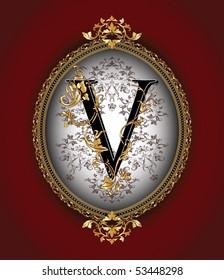 Vintage initials letter v