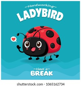 Vintage Insect poster design with vector ladybird character.