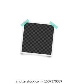 Vintage instant picture - realistic mockup, blank square photograph frame stuck to wall with colorful duct tape, cool stationery or scrapbooking album element - isolated vector illustration
