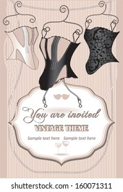 Vintage invitation card with corsets