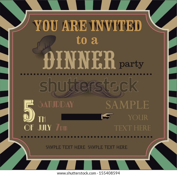 Vintage Invitation Card Dinner Party Stock Vector Royalty