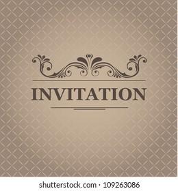Vintage invitation card, vector illustration