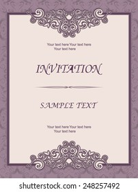 vintage invitation card with Victorian pattern