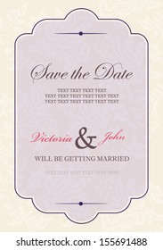 vintage invitation card or wedding card